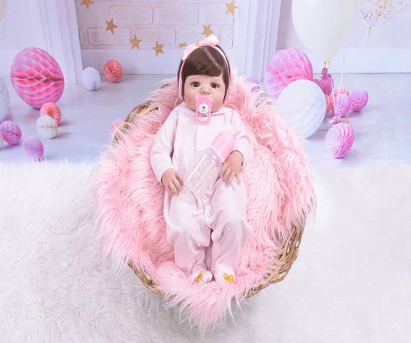 Imagem de Bebê Reborn De Silicone Com Enxoval Completo Original NPK Exclusividade