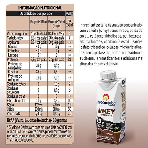 Imagem de Bebida Láctea Piracanjuba Whey Zero Lactose Cacau 250ml