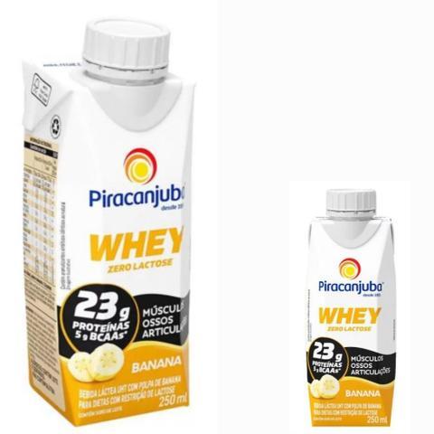 Imagem de Bebida Láctea Whey Zero Lactose Piracanjuba Sabor Banana 250 ml - Kit 02 Unidades