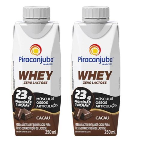 Imagem de Bebida Láctea Whey Zero Lactose Piracanjuba Sabor Cacau 250 ml - Kit 02 Unidades