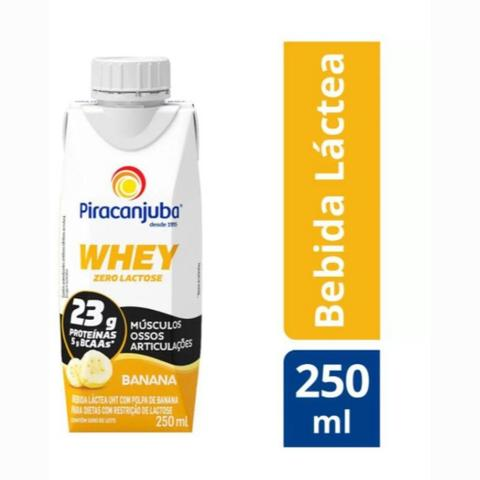 Imagem de Bebida Láctea Whey Zero Lactose Piracanjuba Sabor Cacau 250 ml - Kit 08 Unidades