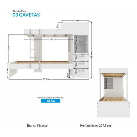 Imagem de Beliche Plus com Escada e 3 Gavetas Santos Andirá