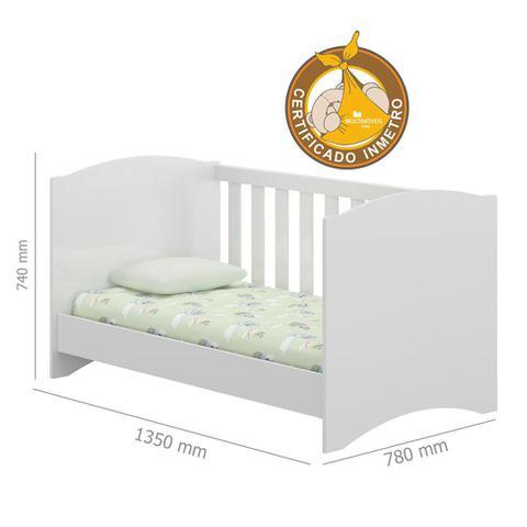 Imagem de Berço 3 em 1 para Colchão 135 x 78 cm Branco Premium