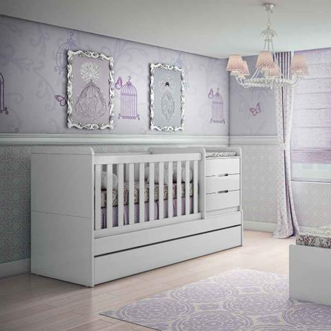 Imagem de Berço Cama Mutifuncional Cléo Carolina Baby Branco Fosco