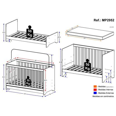 Imagem de Berço Elza 3 em 1 vira cama com colchão incluso Multimóveis Branco Certificado Inmetro
