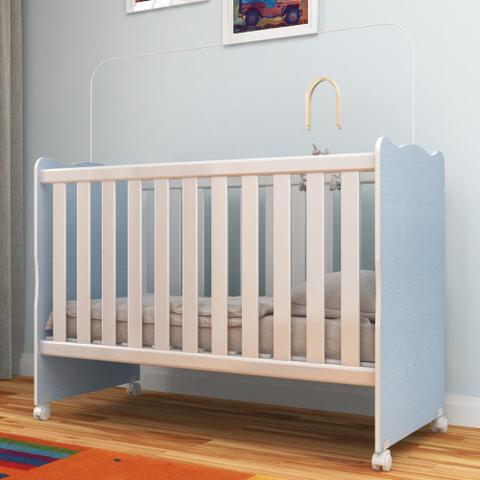 Imagem de Berço Infantil com Rodízio Arco íris 62r33pp Azul Linho - Rodial
