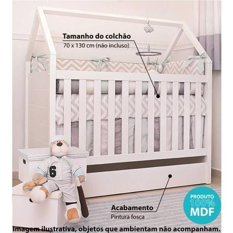 Imagem de Berço Mini Cama Montessoriana Casinha 100% MDF Branco