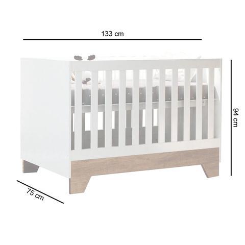 Imagem de Berço Mini Cama Retrô Carolina Baby Malu Branco E Amadeirado Fosco