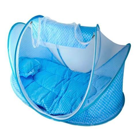Imagem de Berço Mosquiteiro Infantil Portátil Cama Colchão - Cor Azul