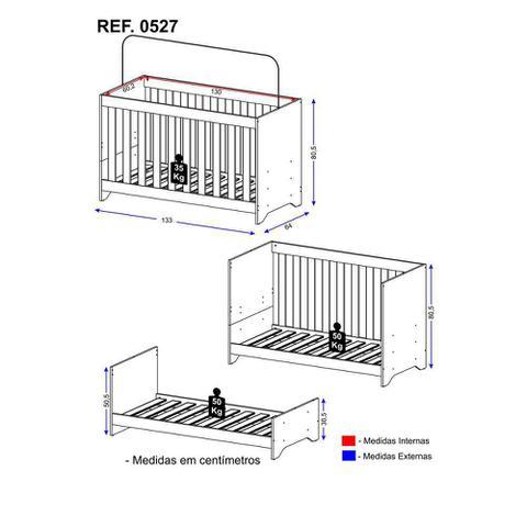 Imagem de Berço Multimóveis 3 em 1 Branco REF. 0527 para Colchão 130cmx60cm