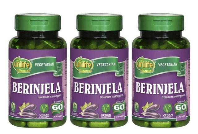 Imagem de Berinjela Solanum Melongena 60 Cáps 350mg Unilife Kit 3 unidades