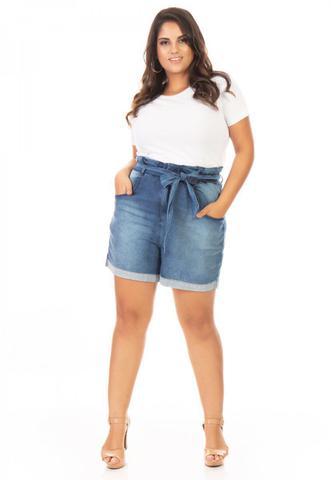 Imagem de Bermuda Feminina Jeans Clochard com Cinto Plus Size
