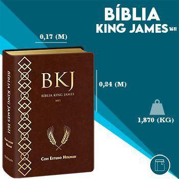 Imagem de Bíblia de Estudo Holman  King James Fiel 1611  Letra Grande  Luxo  Marrom