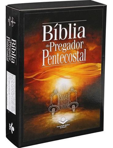 Imagem de Bíblia do pregador pentecostal  arc  letra normal  capa luxo preta nobre  sbb