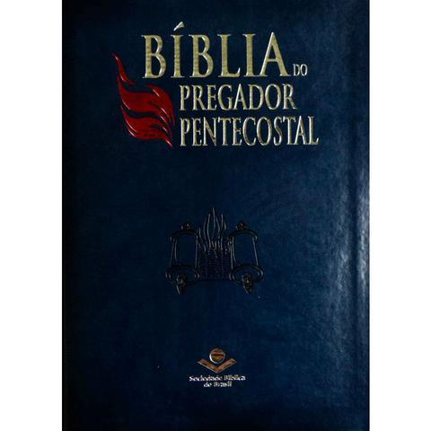 Imagem de Bíblia do pregador pentecostal  naa  letra normal  capa sintética  azul nobre  índice  sbb