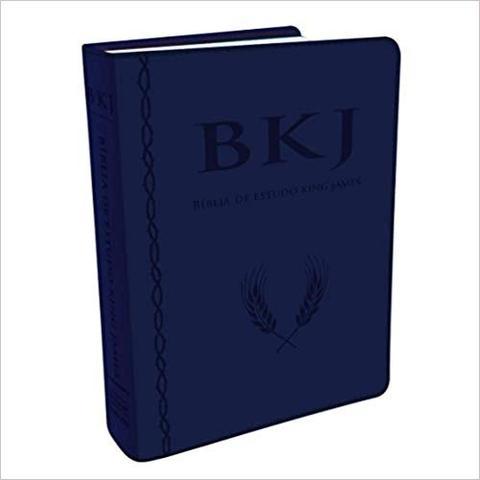 Imagem de Bíblia King James com Estudo Holman Azul Caixa