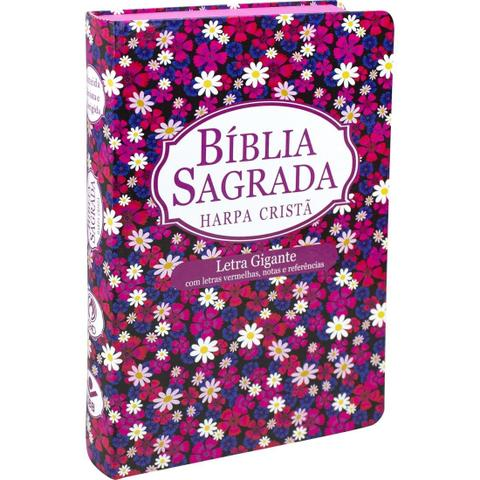 Imagem de Bíblia sagrada rc letra gigante com harpa cristã - capa floral