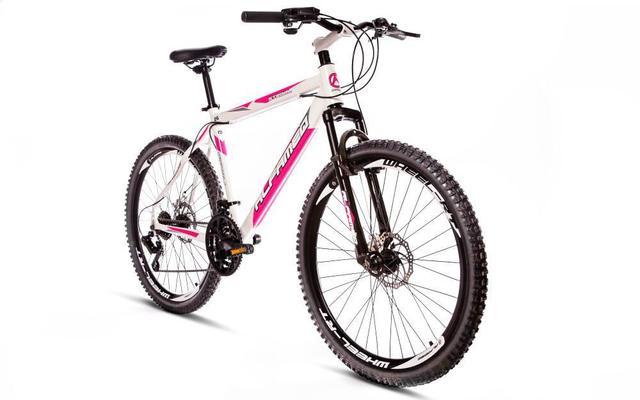 Imagem de Bicicleta Alfameq Stroll Aro 26 Freio À Disco 21 Marchas Branca Com Rosa