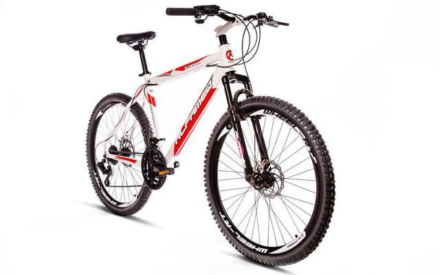 Imagem de Bicicleta Alfameq Stroll Aro 26 Freio À Disco 24 Marchas Branca Com Vermelho
