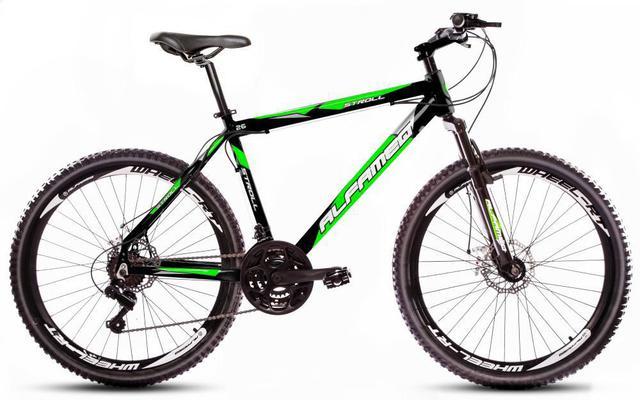 Imagem de Bicicleta Alfameq Stroll Aro 26 Freio À Disco 24 Marchas Preta Com Verde
