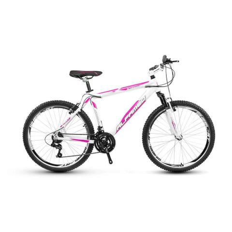 Imagem de Bicicleta Alfameq Stroll Aro 26 Vbrake 21 Marchas Branca Com Rosa