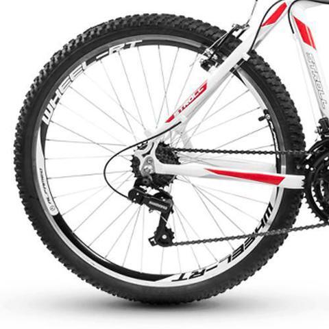 Imagem de Bicicleta Alfameq Stroll Aro 26 Vbrake 21 Marchas Branca Com Vermelho