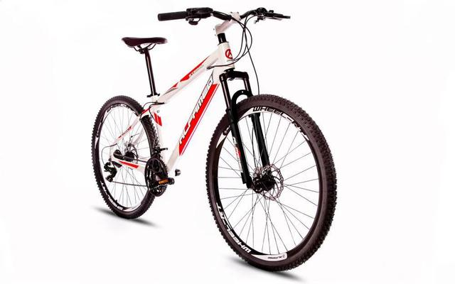 Imagem de Bicicleta Alfameq Stroll Aro 29 Freio À Disco 27 Marchas Branca Com Vermelho
