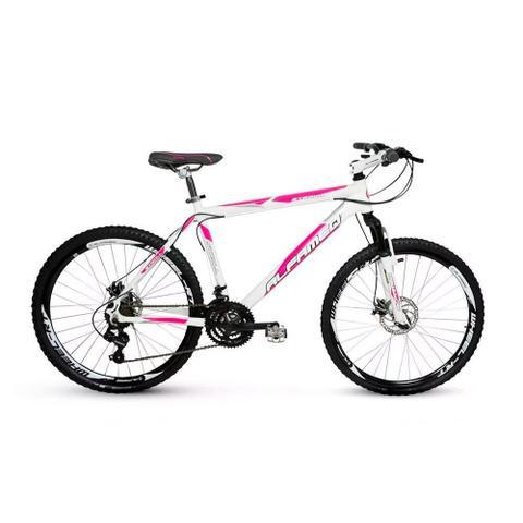 Imagem de Bicicleta Alfameq Stroll Aro 29 Freio Hidráulico 21 Marchas Branca Com Rosa