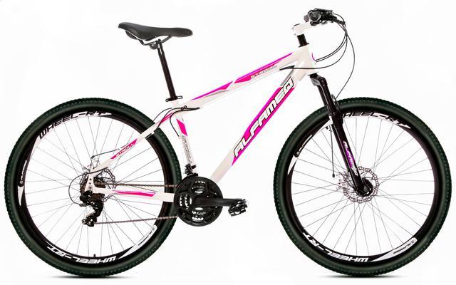 Imagem de Bicicleta Alfameq Stroll Aro 29 Freio Hidráulico 27 Marchas Branca Com Rosa