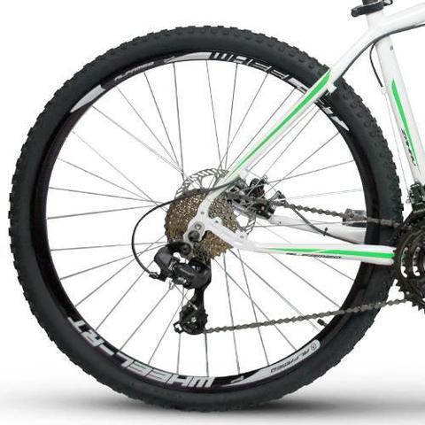 Imagem de Bicicleta Alfameq Zahav Aro 29 Freio À Disco 24 Marchas Branca Com Verde