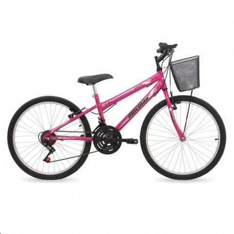 Imagem de Bicicleta aro 24 mountain bike fantasy mormaii fem. c  cesta rosa 53e4304bce
