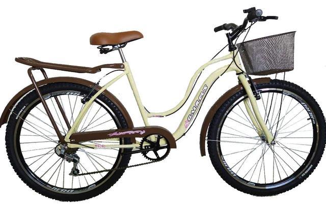 Bicicleta Galileus Retrô Aro 26 Rígida 6 Marchas - Bege