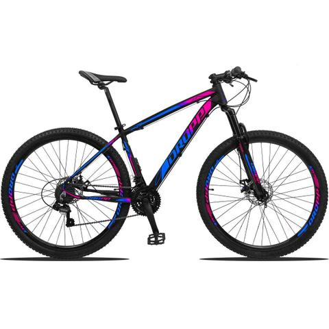 Imagem de Bicicleta Aro 29 21V Shimano Dropp Z3 Tam 15 Suspensão preto, azul e rosa + Lubrificante Cera 120 ml
