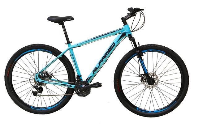Imagem de Bicicleta aro 29 Alfameq Atx Alumínio 21 Marchas Câmbios Shimano Freio a Disco Azul Tam.17