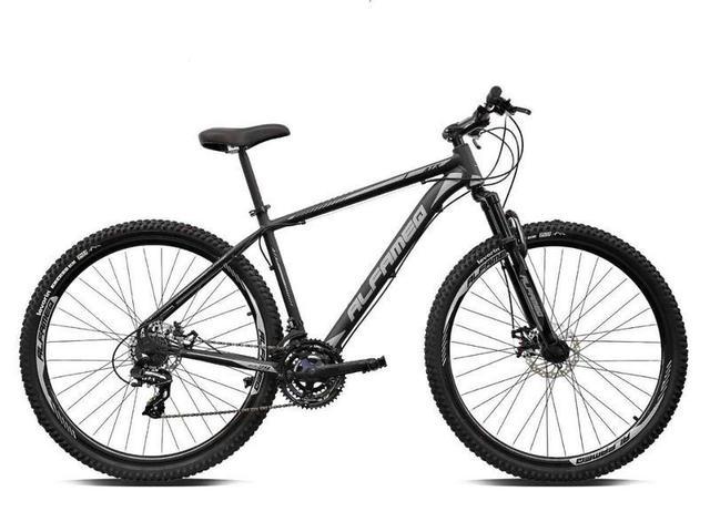 Imagem de Bicicleta aro 29 Alfameq Atx Alumínio 21 Marchas Câmbios Shimano Freio a Disco Preto/Cinza Tam.19