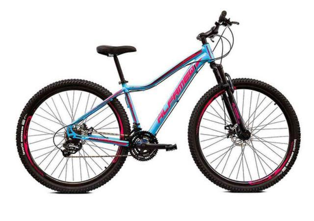 Imagem de Bicicleta Aro 29 Alfameq Pandora Feminina Alumínio 21v Freio A Disco Azul com Rosa Tamanho 15