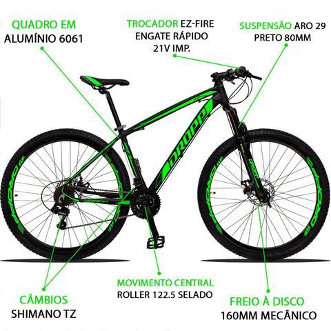 Imagem de Bicicleta Aro 29 Dropp Z3 21v Câmbios Shimano Freio a Disco Preto e Verde