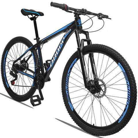 Imagem de Bicicleta Aro 29 Quadro 15 Alumínio 21 Marchas Freio a Disco Mecânico Preto/Azul - Dropp