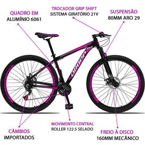 Imagem de Bicicleta Aro 29 Quadro 15 Alumínio 21 Marchas Freio a Disco Mecânico Preto/Pink - Dropp