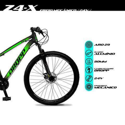 Imagem de Bicicleta Aro 29 Quadro 15 Alumínio 24 Marchas Freio Disco Mecânico Z4-X Preto/Verde - Dropp