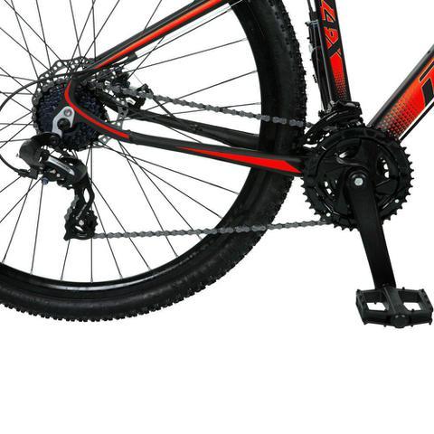 Imagem de Bicicleta Aro 29 Quadro 15 Alumínio 24v Suspensão Trava Freio Hidráulico Z4-X Preto/Vermelho - Dropp