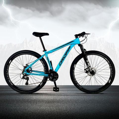 Imagem de Bicicleta Aro 29 Quadro 15 Freio a Disco Mecânico 21 Marchas Alumínio Azul Preto - Dropp