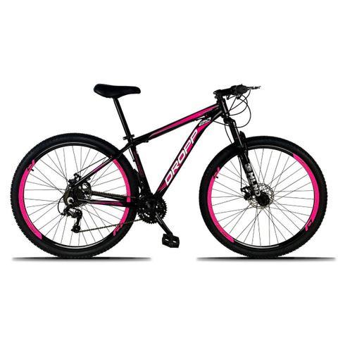 Imagem de Bicicleta Aro 29 Quadro 15 Freio a Disco Mecânico 21 Marchas Alumínio Preto Rosa - Dropp