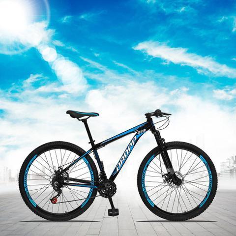 Imagem de Bicicleta Aro 29 Quadro 17 Alumínio 21 Marchas Freio a Disco Mecânico Preto/Azul - Dropp