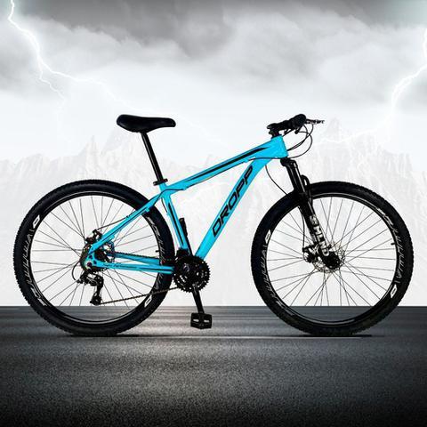 Imagem de Bicicleta Aro 29 Quadro 17 Freio a Disco Mecânico 21 Marchas Alumínio Azul Preto - Dropp