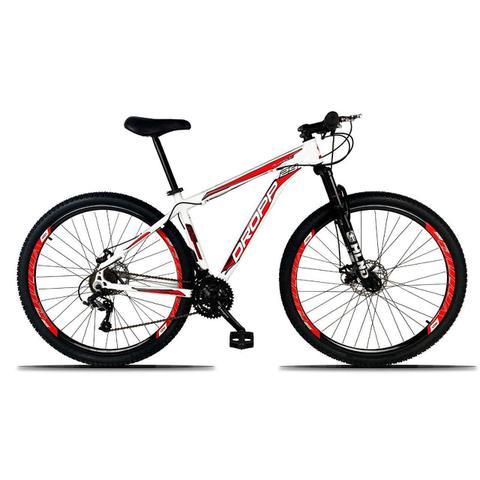 Imagem de Bicicleta Aro 29 Quadro 17 Freio a Disco Mecânico 21 Marchas Alumínio Branco Vermelho - Dropp