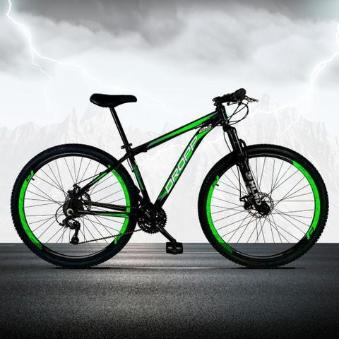 Imagem de Bicicleta Aro 29 Quadro 17 Freio a Disco Mecânico 21 Marchas Alumínio Preto Verde - Dropp