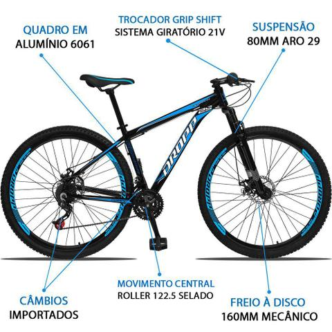 Imagem de Bicicleta Aro 29 Quadro 19 Alumínio 21 Marchas Freio a Disco Mecânico Preto/Azul - Dropp