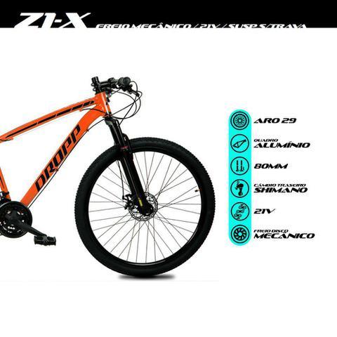 Imagem de Bicicleta Aro 29 Quadro 19 Alumínio 21 Marchas Freio Disco Mecânico Z1-X Laranja/Preto - Dropp