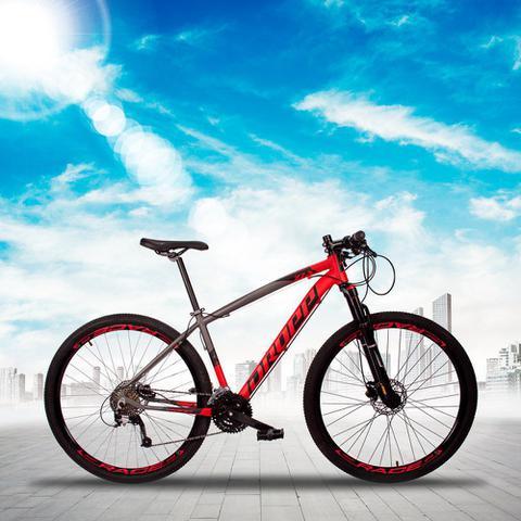 Imagem de Bicicleta Aro 29 Quadro 19 Alumínio 27v Suspensão Trava Freio Hidráulico Z7-X Cinza/Vermelho - Dropp